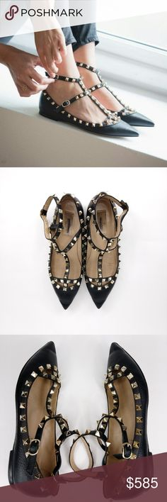 be353f4206 Valentino Rockstud Ankle Strap Ballet Flat Authentic! ROCKSTUD GRAINY  CALFSKIN ANKLE STRAP BALLET FLAT Please see all pictures for accurate  description and ...