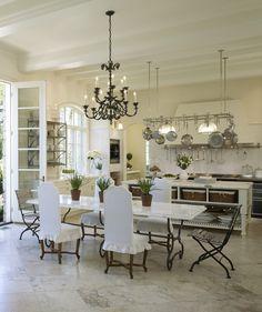 -open shelving, pot rack, French inspired kitchen