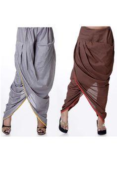 Grey and Brown Cotton Readymade Dhoti Pants