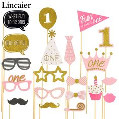 Lincaier Birthday Party Decorations Photo Booth Props I AM ONE Photobooth First Year Baby Boy Girl Fun Supplies First Birthday Party Supplies, Pink First Birthday, 1st Birthday Party Decorations, Baby Girl Birthday, First Birthday Parties, First Birthdays, Happy Birthday, Birthday Celebration, Birthday Photo Booths