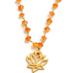 Buddhas Blossoming Lotus Carnelian Necklace- Radiant Beauty