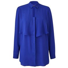Layered Keyhole Blouse   SimplyBe US Site (£37) ❤ liked on Polyvore featuring tops, blouses, blue blouse, double layer top, layered blouse, key hole top and layered tops