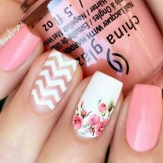 spring-nail-designs-pink-base-floral-accent-chevron Trendy Easter Nail Designs 2018 Nail Art gel nail Easter #springnaildesigns #Bestsummernails