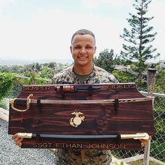 Browse unique items from KnotBadWoodwork on Etsy, a global marketplace of handmade, vintage and creative goods. Military Quotes, Military Gifts, Marine Corps, Bullet Casing Crafts, Marine Gifts, Military Shadow Box, Once A Marine, Armada, Stain Colors