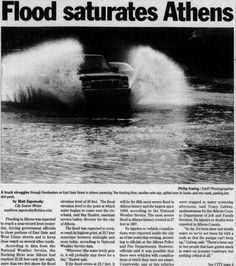 """Post (Athens, Ohio) January 7 2005, page 1: """"Flood saturates Athens."""" """"According to data from the National Weather Service, the Hocking River near Athens had reached 22.28 feet last night, more than two feet above the flood elevation level of 20 feet. The flood elevation level is the point at which water begins to come over the riverbank."""" :: Ohio University Archives"""
