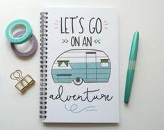 Escribir diario, cuaderno, diario bala, lindo presupuesto, diario de campo, camper, sketchbook, rejilla forrada en blanco - vamos a ir en una aventura