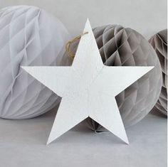 Ver detalles de Decorado colgante estrella madera blanca