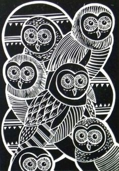 owls linocut