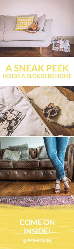 home ideas, interior ideas, home tour, living room ideas, bedroom ideas, rug, sheepskin rugs, colour schemes for the home, grey sofa, vintage, bloggers homes,