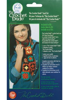 Simplicity Creative Group - The Crochet Dude Scarf Kit includes instructions, size H crochet hook, plastic needle and a chart to show how to combine colors to create your own personalized scarf to keep or to give. #thecrochetdude