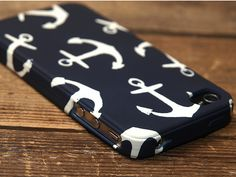 Navy blue and white anchor iPhone 4s case