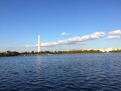 Beautiful view of the Washington Monument from the Potomac River in Washington DC.