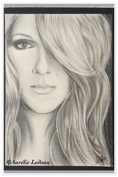 portrait de °° Céline Dion°° au crayon graphite : Dessins par aurelie-ledoux