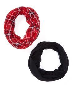 Black & Red Plaid Infinity Scarf