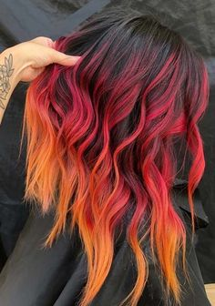Hottest Red Fire Hair Color Shades to Show Off in 2018 - Cool Hair - Hair Fire Hair Color, Fire Ombre Hair, Hair Color Shades, Hair Dye Colors, Cool Hair Color, Fire Red Hair, Vivid Hair Color, Ombre Hair Dye, Pastel Ombre Hair