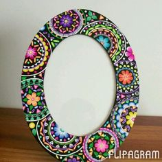 The frame is finished! (Except I want to seal and protect it with PYM II.) I took a few close up shots to show the details. This is my first time using flipagram, I hope this works. Dot Art Painting, Mirror Painting, Mandala Painting, Mirror Art, Pottery Painting, Painting Frames, Mosaic Crafts, Mosaic Projects, Mandala Dots