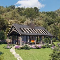 Modern Barn House, Landscape Lighting, Exterior Design, Guest Houses, Yard, Cabin, Exterior Lighting, House Styles, Ranch