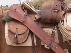western saddle rifle scabbard and horn pistol holster - Google Search