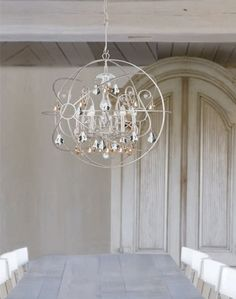 Silver Modern Gold Crystal Restoration Hardware Replica Orb Chandelier $2300 #purehome #Frenchmodern