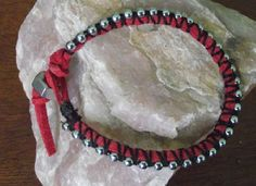 Red Suede Leather with Ball Chain and Hex Nut closure