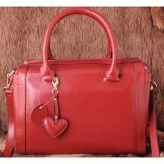 Womens red leather shoulder bag $115.00