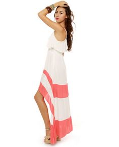 High low ivory and coral dress