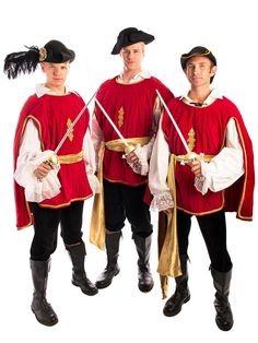 this three muskateers group costume for hire is formidable and adventurous get together with your