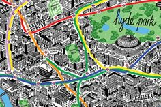 This beautiful and very detailed map of London was hand drawn by British illustrator Jenni Sparks. It can be purchased at Evermade. This hand drawn map of Paris Map, London Map, West London, Hyde Park, Sparks Design, Manado, Kensington And Chelsea, Tourist Map, City Maps