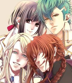 Kamigami no Asobi. Yui, Thor, Balder, and Loki