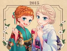 "Anna and Elsa from ""Frozen"" in kimono - Art by 鈴原センチ"