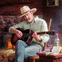 TALLMAN SCOTT POWERS - O contador de histórias do Wyoming - Óleo sobre tela - 32 x 32 pol