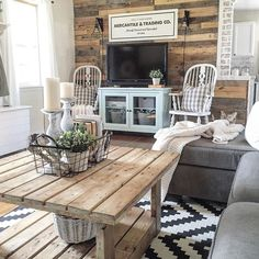 Cozy spring home tour blue white and aqua living room with rustic accents - Deco buffet champetre ...