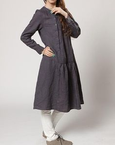 spring Linen tunic long dress /linen Coat gown by MaLieb on Etsy by Lieb Ma