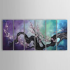 luckydonkey | Rakuten Global Market: Contemporary art in six modern canvas art painting wall hanging painting big abstract paintings 1 set violet floral plants Sakura flower celebration cherry ordered ships will point at around 2-3 weeks