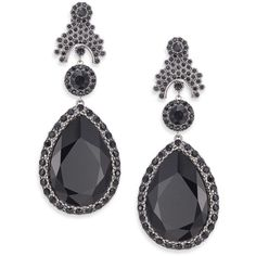 Givenchy Victorian Large Crystal Clip-On Drop Earrings (91.185 RUB) ❤ liked on Polyvore featuring jewelry, earrings, apparel & accessories, black, crystal earrings, givenchy, tear drop earrings, crystal drop earrings and kohl jewelry