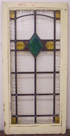 "LARGE OLD ENGLISH LEADED STAINED GLASS WINDOW Diamond Design 19.25"" x 39.75"""