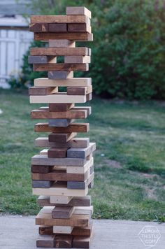 I'm excited to be sharing tutorials for 5 DIY Yard Games: Yahtzee, Dominoes, Scrabble, Cornhole and Jenga this week and next. Family Yard Games, Giant Yard Games, Yard Games For Kids, Camping Games Kids, Diy Yard Games, Lawn Games, Diy Games, Backyard For Kids, Kids Fun