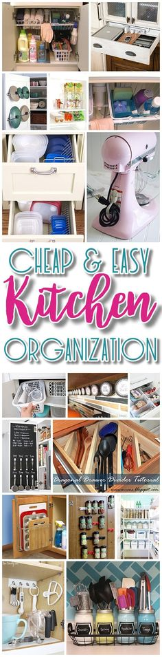 Easy and Budget Friendly Ways to Organize your Kitchen - Hacks, Ideas, Space Saving tips and tricks for Organization in the Kitchen Quickly - Dreaming in DIY