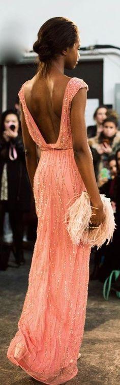 gorgeous peach gown.