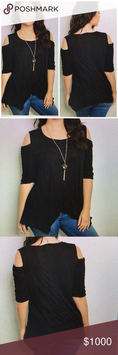 COMING SOON Uniquely Cold Shoulder Top Comes with the necklace. 97% Rayon 3% Spandex Tops