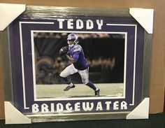TEDDY BRIDGEWATER VIKINGS FRAMED DOUBLE MATTED SIGNED SILVER 8X10 JSA P61944