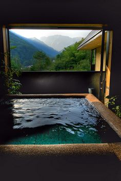 A hot spring bath with a view. In Minakami area, Gunma prefecture