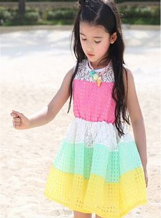 baby girl summer style Openwork stitching lace dress Adorable Classy girls party dresses high quality kids dresses for girls
