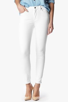 Get Spring ready in the High Waist Skinny in White Sateen.