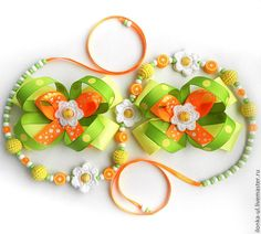 """Детская бижутерия ручной работы. Ярмарка Мастеров - ручная работа Комплект """"Апельсиновые цветы"""". Handmade."""