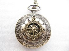 vintage Compass Roman grain Pocket Watch Necklace charm necklace with chain Jewelry Pendant men's gift