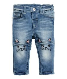 Check this out! 5-pocket jeans in washed stretch denim. Adjustable elasticized waistband, fly with snap fastener, and embroidery and appliqués on knees. - Visit hm.com to see more.