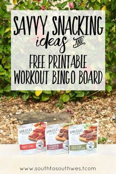 Choosing healthy snacks and working out isn't aways easy when life gets busy.  Download this free printable workout bingo board and try new products from Lorissa's Kitchen!  #SavvySnacking #ad