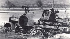 A armored cab SdKfz 7/1 anti aircraft variant destroyed by Allied air attack