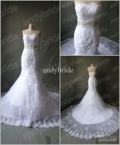 Wholesale 2012 High Quality Exquisite Strapless A Line Chapel Train Lace Wedding Dresses Bridal Gowns, Free shipping, $140.0-154.84/Piece | DHgate